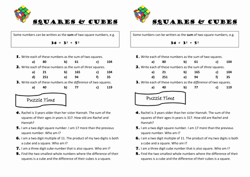 Square and Cube Roots Worksheet Inspirational Squares and Cubes Maths Problems by Ballatronic Teaching