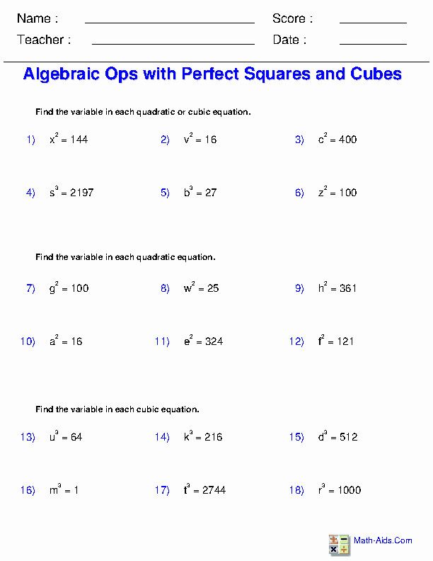 Square and Cube Roots Worksheet New Exponents and Radicals Worksheets