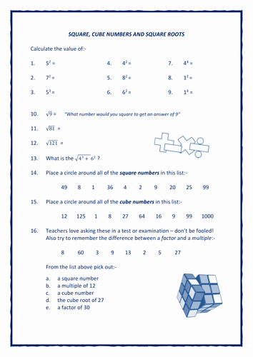 Square and Cube Roots Worksheet Unique Mathematics Worksheets Galore Shop Teaching Resources Tes
