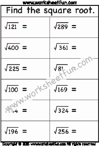 Square Root Practice Worksheet Beautiful Square Roots Of Perfect Squares Free Printable
