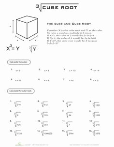 Square Root Practice Worksheet Elegant Cubes Square Roots and Squares On Pinterest