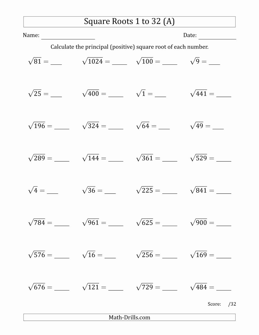 Square Root Practice Worksheet Fresh Principal Square Roots 1 to 32 A