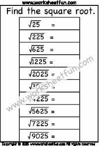 Square Root Practice Worksheet Inspirational Square Roots Of Perfect Squares Free Printable