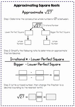 Square Root Practice Worksheet Luxury Estimating Square Roots Interactive Notes and Worksheet