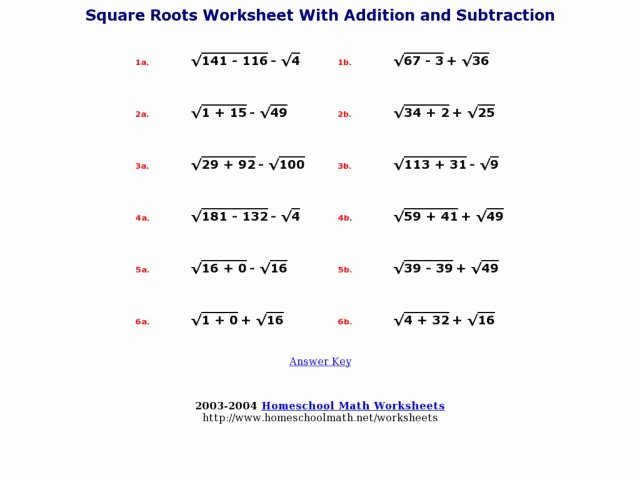 Square Root Practice Worksheet Luxury Square Roots Worksheet with Addition and Subtraction