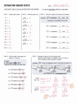 Square Root Worksheet Pdf Awesome Estimating Square Root Scaffolded Worksheet with Answers