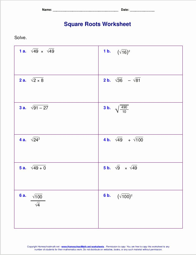 Square Root Worksheet Pdf Beautiful Simplify Radicals Worksheet