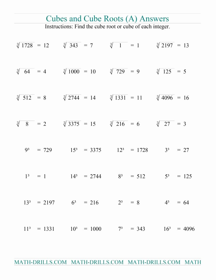 Square Root Worksheet Pdf Best Of Cubes and Cube Roots A