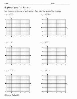 Square Root Worksheet Pdf Best Of Graphing Square Root Functions Algebra Worksheet by