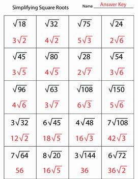 Square Root Worksheet Pdf Fresh Simplifying Square Roots Worksheet by Kevin Wilda