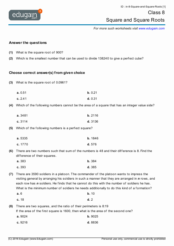 Square Root Worksheet Pdf Inspirational Grade 8 Math Worksheets and Problems Square and Square