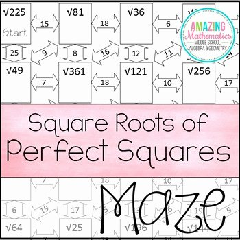 Squares and Square Roots Worksheet Awesome Square Roots Of Perfect Squares Maze Worksheet by Amazing