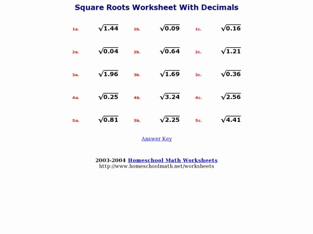 Squares and Square Roots Worksheet Awesome Square Roots Worksheet with Decimals Worksheet for 7th
