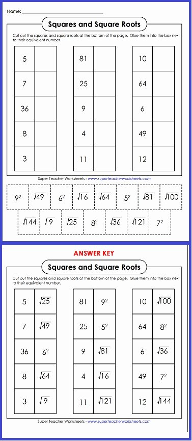 Squares and Square Roots Worksheet Awesome Squares and Square Roots