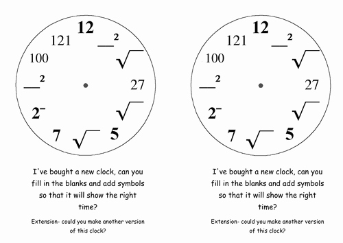 Squares and Square Roots Worksheet Awesome Squares Cubes and Roots Clock by Drewsherratt