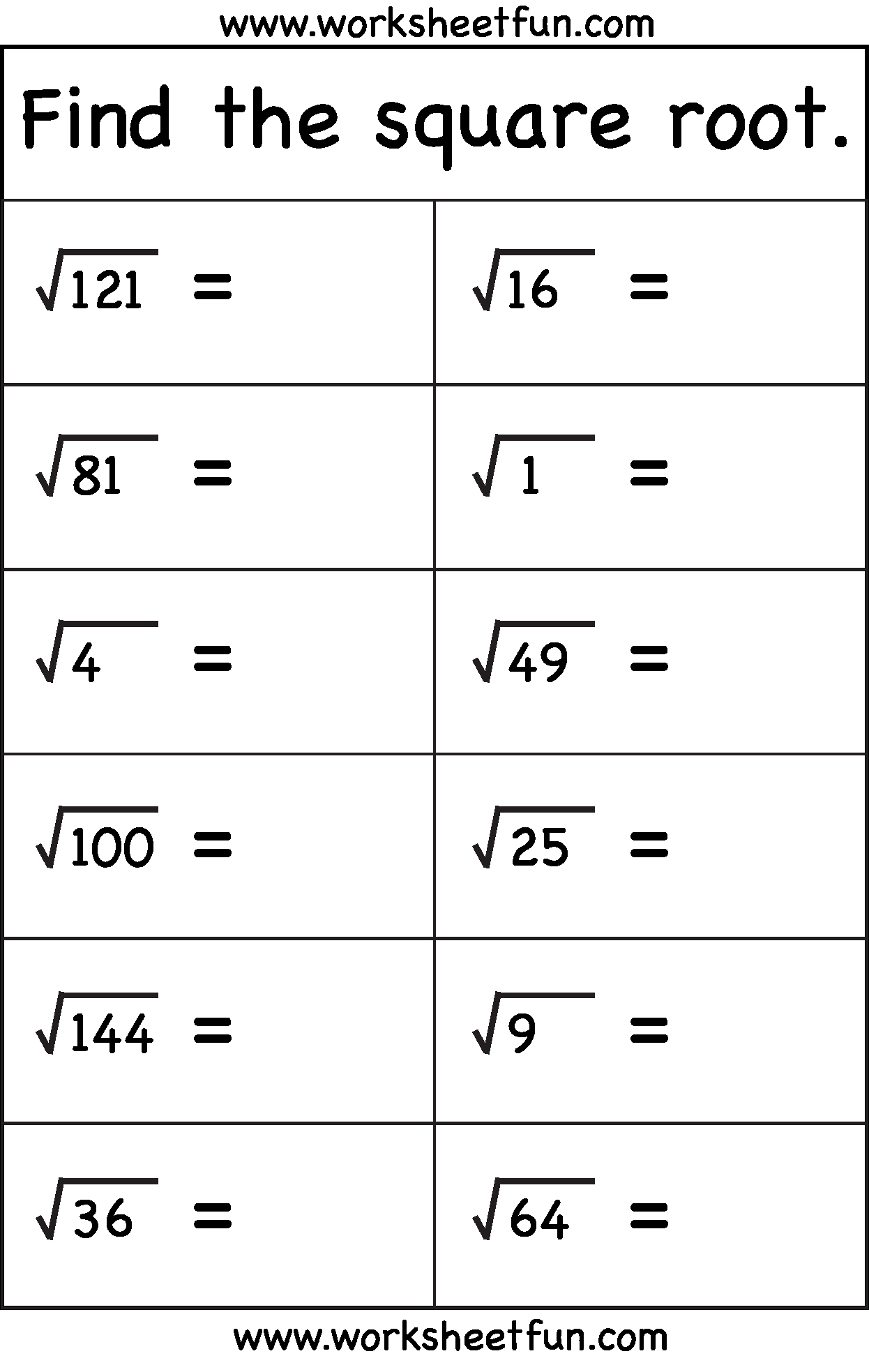 Squares and Square Roots Worksheet Best Of Square Root – 1 Worksheet Free Printable Worksheets