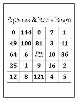 Squares and Square Roots Worksheet Elegant Squares and Square Roots Bingo by Middle School Math Man