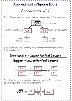 Squares and Square Roots Worksheet Inspirational Estimating Square Roots Interactive Notes and Worksheet