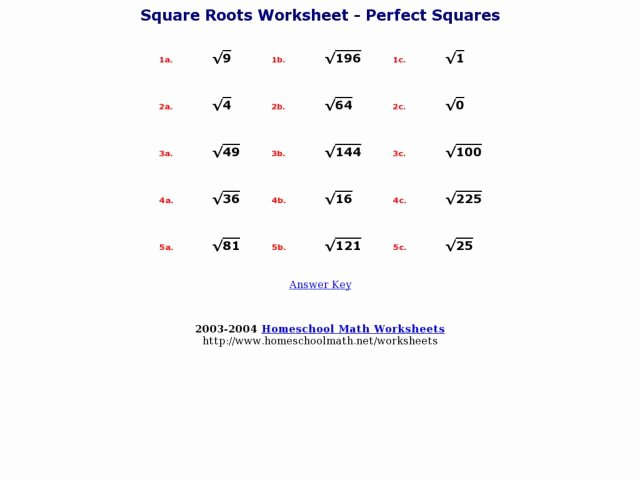 Squares and Square Roots Worksheet Inspirational Square Roots Worksheet Perfect Squares Worksheet for 4th