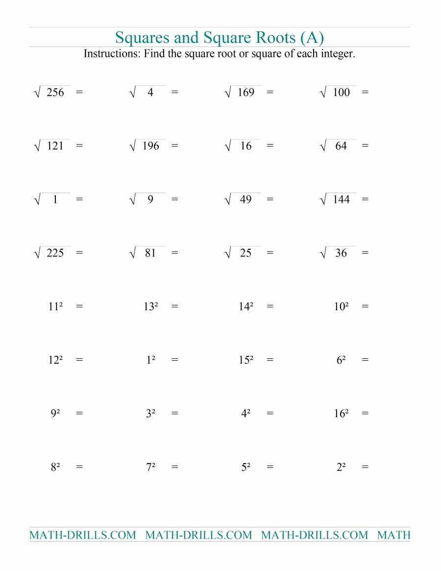 Squares and Square Roots Worksheet Lovely Squares and Square Roots A