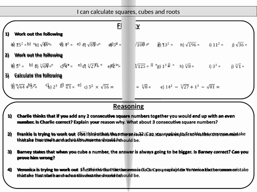 Squares and Square Roots Worksheet Unique Squares Cubes and Roots Mastery Worksheet by Joybooth