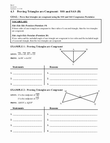 Sss Sas asa Aas Worksheet Luxury 20 Best Proving Triangles Congruent Worksheet Answers