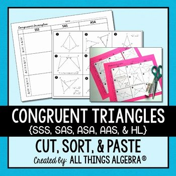 Sss Sas asa Aas Worksheet Unique Congruent Triangles Sss Sas asa Aas and Hl Cut and