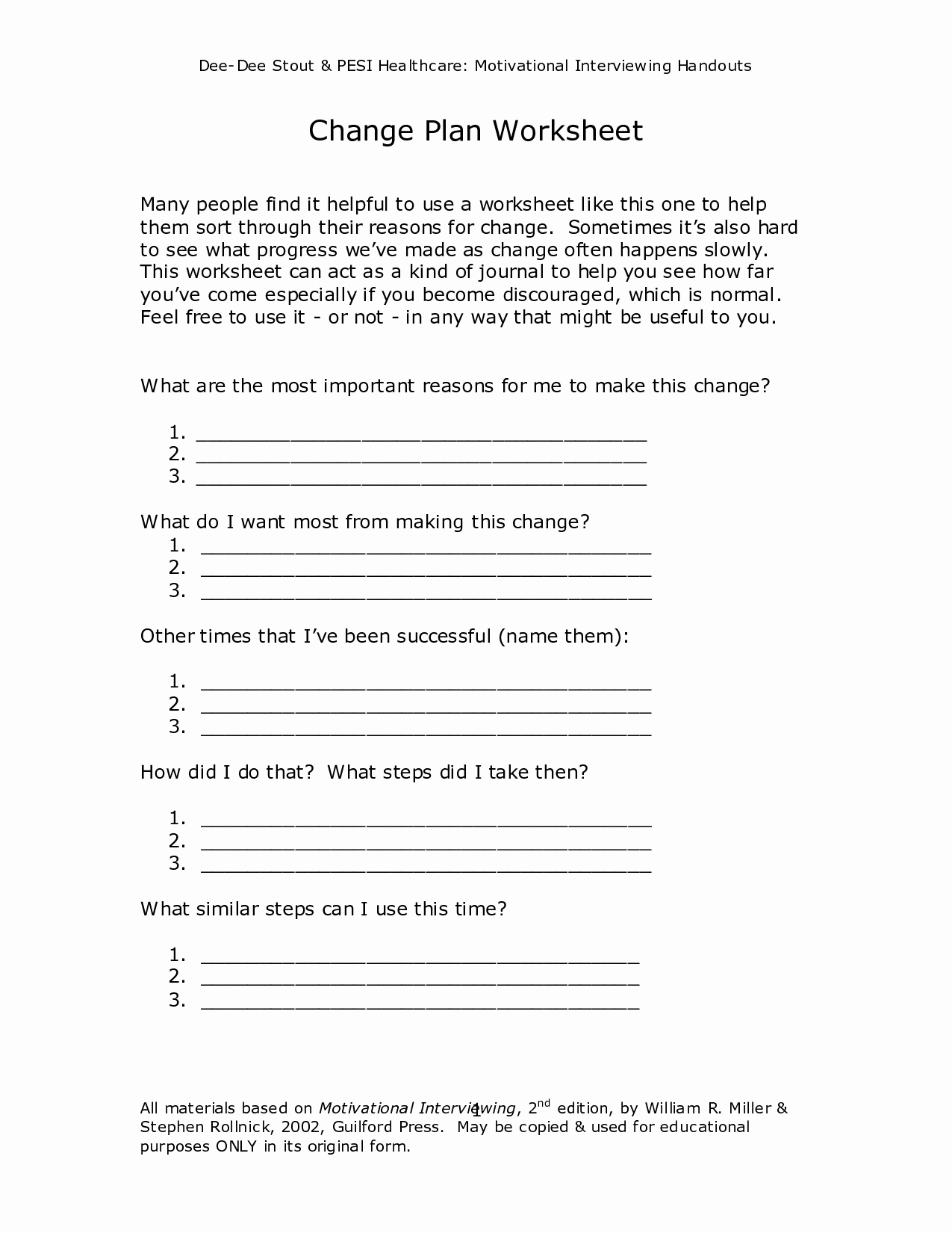 Stages Of Change Worksheet Awesome 16 Best Of Motivational Worksheets for Change