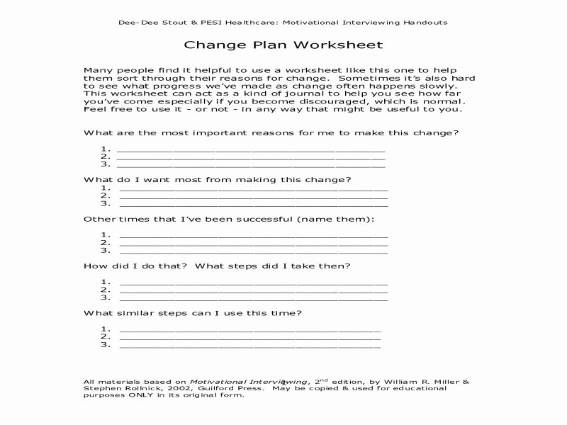 Stages Of Change Worksheet Beautiful Decisional Balance Worksheet Free Printable Worksheets