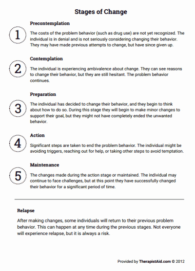 Stages Of Change Worksheet Lovely Stages Of Change Worksheet