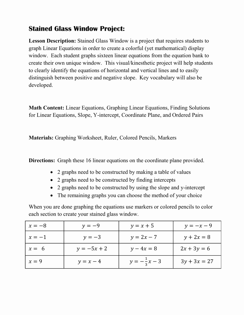 Stained Glass Windows Worksheet Beautiful Stained Glass Window Linear Equations Worksheet Answer Key