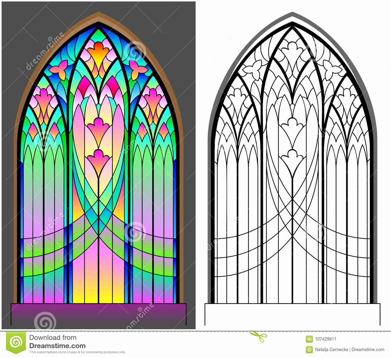 Stained Glass Windows Worksheet Luxury Colorful and Black and White Pattern Gothic Stained
