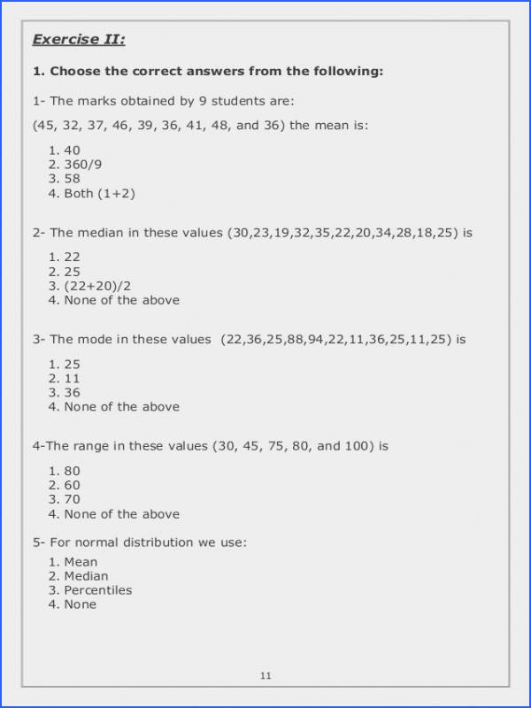 Standard Deviation Worksheet with Answers Fresh Mean Median Mode Range Worksheets Pdf