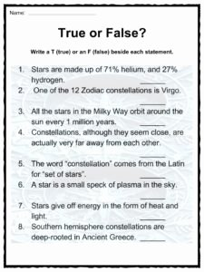 Stars and Galaxies Worksheet Answers Elegant Star and Constellation Facts and Worksheets