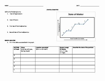 State Of Matter Worksheet Beautiful Phase Change Worksheet States Of Matter Heat Transfer