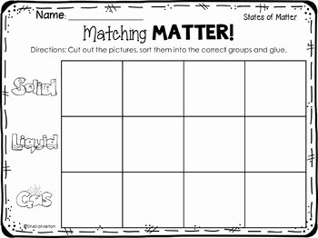 State Of Matter Worksheet Luxury States Of Matter Freebie Matching Matter sorting