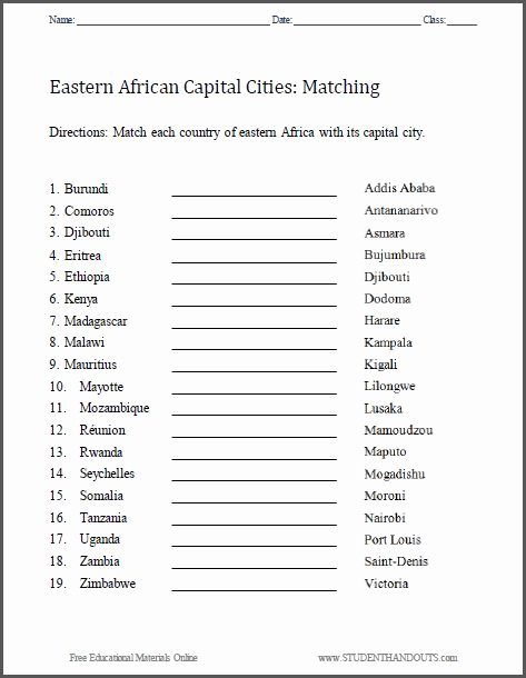 States and Capitals Matching Worksheet Awesome East Africa Capitals Matching Worksheet Free to Print