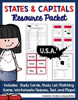 States and Capitals Matching Worksheet Awesome U S States & Capitals Resource Packet