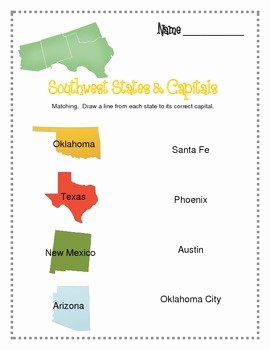 States and Capitals Matching Worksheet Best Of southwest Region Worksheets and Flashcards Matching Label