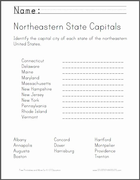 States and Capitals Matching Worksheet Fresh 9 Best Images About Geography On Pinterest