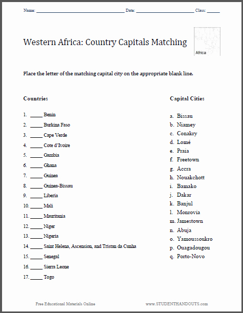 States and Capitals Matching Worksheet Fresh West African Capitals Matching Worksheet Free to Print