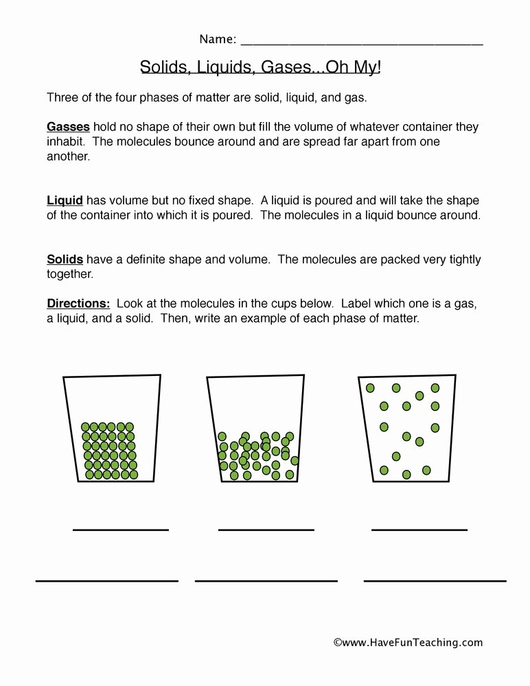 States Of Matter Worksheet Answers Lovely States Of Matter Examples Worksheet