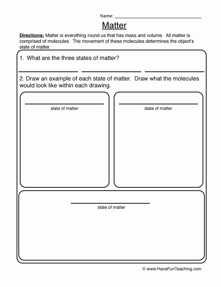 States Of Matter Worksheet Awesome Matter Worksheet