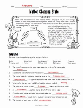 States Of Matter Worksheet Chemistry Awesome Matter Changing States Worksheet by Adventures In Science