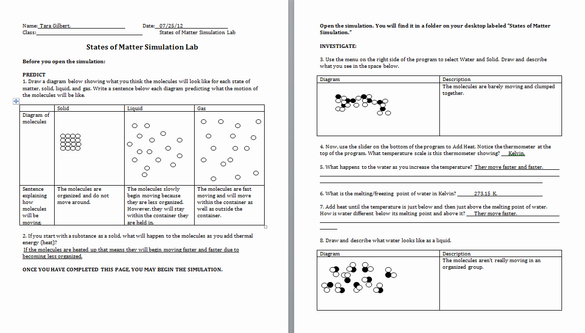 States Of Matter Worksheet Chemistry Awesome Visualizing Chemistry Summer 2012 Activity Six