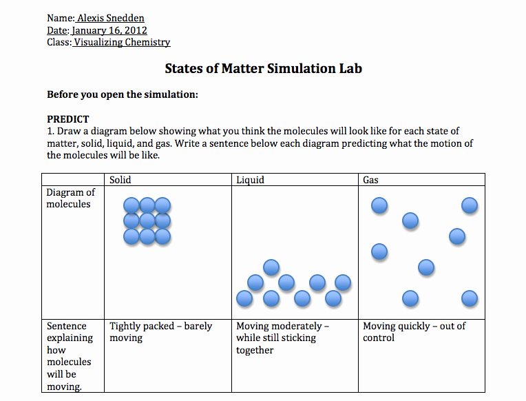 States Of Matter Worksheet Chemistry Fresh Chemistry Activity 6 States Of Matter and Intermolecular