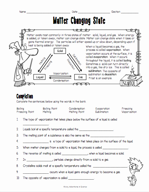 States Of Matter Worksheet Chemistry New Matter Changing States Worksheet