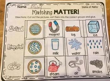 States Of Matter Worksheet Pdf Inspirational States Of Matter Freebie Matching Matter sorting
