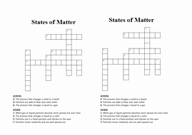 States Of Matter Worksheet Pdf New States Of Matter Crossword Wordsearch by Penny Corp