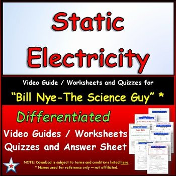 Static Electricity Worksheet Answers Best Of Differentiated Video Worksheet Quiz & Ans for Bill Nye
